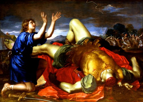 """David Giving Thanks to God After the Death of Goliath"", 18th century painting attributed to Charles Errard the Younger"